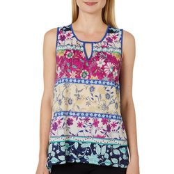 Dept 222 Womens Floral Keyhole Neck Sleeveless Top