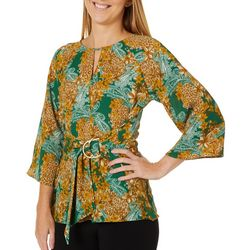 Dept 222 Womens Floral Paisley Print Belted Top