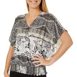 Dept 222 Womens Geometric Paisley Surplice V-Neck Top