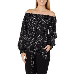 Dept 222 Womens Off The Shoulder Smocked Dot Print Top