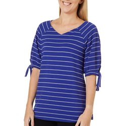 Dept 222 Womens Striped Tie Sleeve Top