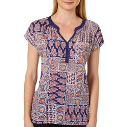 Dept 222 Womens Mixed Patches Printed Short Sleeve Top