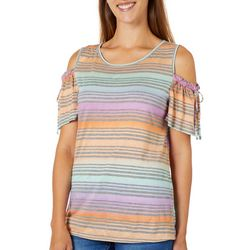 Dept 222 Womens Striped Cold Shoulder Top