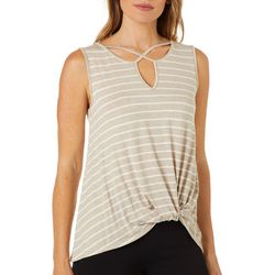Dept 222 Womens Striped Twist Front Sleeveless Top