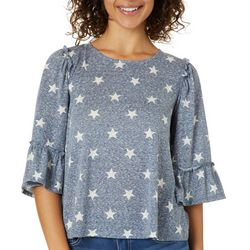 Dept 222 Womens Star Printed Ruffle Sleeve Top
