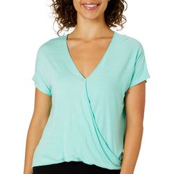Dept 222 Womens Solid Surplice Knit Top