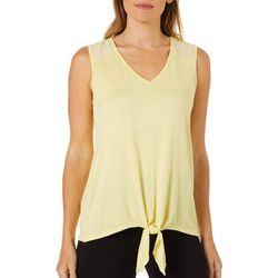 Dept 222 Womens Solid Crepe Yoke Tie Front Tank Top