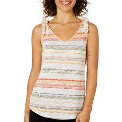 Dept 222 Womens Striped Tie Shoulder Knit Sleeveless Top