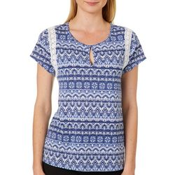 Dept 222 Womens Boho Crochet Panel Keyhole Top
