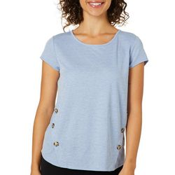 Dept 222 Womens Solid Button Embellished Knit Top