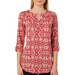Dept 222 Womens Printed Roll Tab Sleeves Top