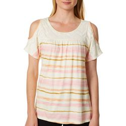 Dept 222 Womens Striped Lace Yoke Cold Shoulder Top