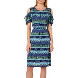 Dept 222 Womens Geometric Tie Waist Cold Shoulder Sundress