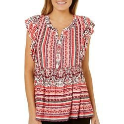 Dept 222 Womens Ruffled Boho Babydoll Top