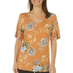 Dept 222 Womens Floral Print Ruffle Sleeve Top