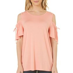 Dept 222 Womens Ruched Cold Shoulder Top
