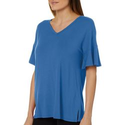 Dept 222 Womens Solid Ruffle Sleeve Top