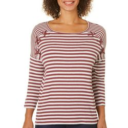 Dept 222 Womens Amber Dreams Striped Lace Up Top