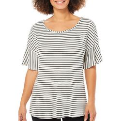 Dept 222 Womens Paradise Dreams Striped Ruffle Sleeve Top