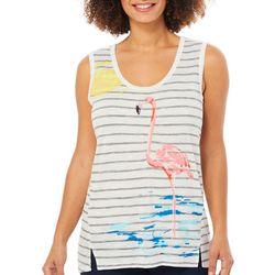 Dept 222 Womens Paradise Dreams Striped Flamingo Top