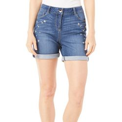 Dept 222 Womens Blue Daze Embroidered Star Denim Shorts