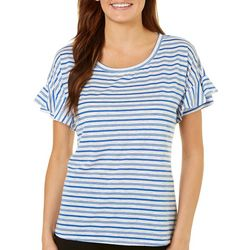 Dept 222 Womens Blue Daze Eyelash Stripe Ruffle Sleeve Top