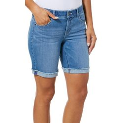 Dept 222 Womens Distressed Cuff Denim Bermuda Shorts