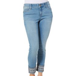 Dept 222 Womens Embroidered Aztec Roll Cuff Jeans