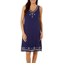 Dept 222 Womens Blue Daze Embroidered Floral Sundress