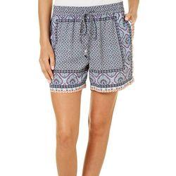 Dept 222 Womens Blue Daze Mixed Damask Soft Shorts