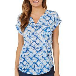 Dept 222 Womens Blue Daze Notch Neck Tie Dye Top