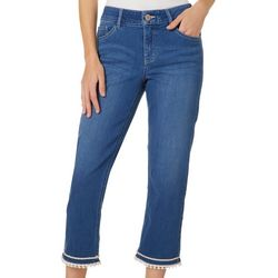 Dept 222 Womens Cropped Tassel Hem Jeans