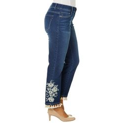Dept 222 Womens Embroidered Floral Tassel Hem Jeans