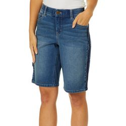 Dept 222 Womens Tuxedo Stripe Denim Bermuda Shorts