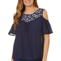 Dept 222 Womens Blue Daze Embroidered Cold Shoulder Top