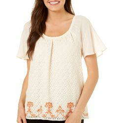 Dept 222 Womens Blue Daze Embroidered Lace Top