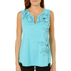 Dept 222 Womens Blue Daze Embroidered Floral Split Neck Top