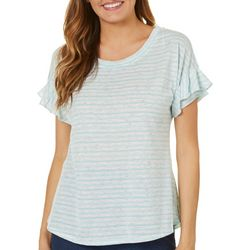 Dept 222 Womens Blue Daze Striped Ruffle Sleeve Top