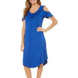 Dept 222 Womens Blue Daze Ruffled Cold Shoulder Dress