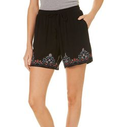 Dept 222 Womens Blue Daze Embroidered Soft Shorts