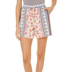 Dept 222 Womens Blue Daze Tribal Floral Pull On Shorts
