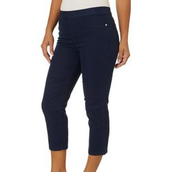 Dept 222 Womens Solid Flexi Fit Pull On Crop Pants