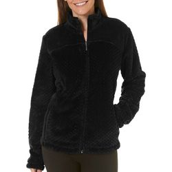 Coral Bay Womens Solid Textured Fleece Zip Up Jacket