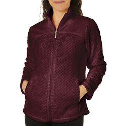 Coral Bay Womens Solid Textured Fleece Zip Up Jacket
