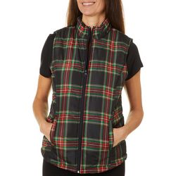 Jason Maxwell Womens Plaid Quilted Vest