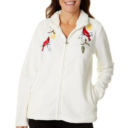 Coral Bay Womens Cardinal Embroidered Fleece Jacket