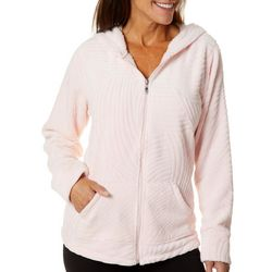 Coral Bay Womens Solid Swirl Textured Fleece Zip Up Jacket