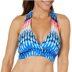 4a071b1b30746 Ocean Avenue Womens Waves Ikat Print Halter Swim Top