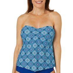 Ocean Avenue Womens Tile Print Bandeau Tankini Top