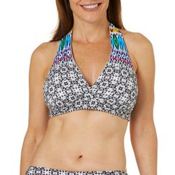 Ocean Avenue Womens Medallion Halter Bikini Top